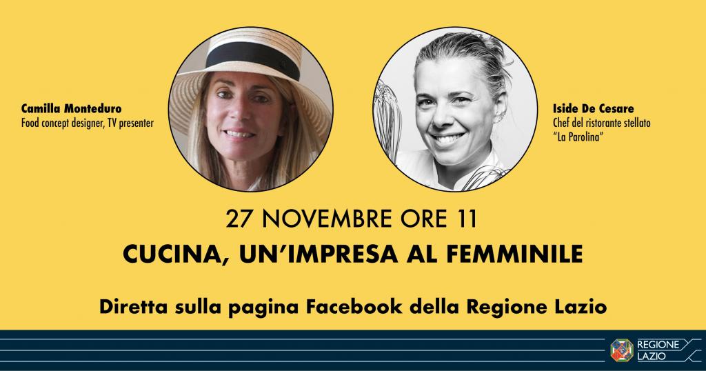 27/11/2020 ore 11 in Fb: cucina, l'impresa femminile 🗓
